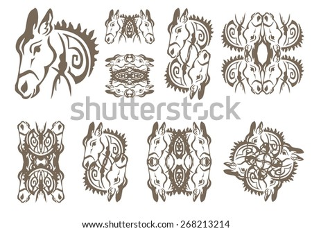 Donkey symbols in tribal style - stock vector
