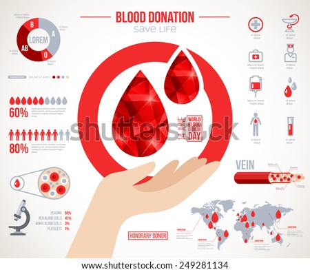 Donor infographics. Icons set about blood donation lifesaving and hospital assistance. Vector illustration. World blood donor day 14 June. Blood drop creative illustration. Medical Design elements. - stock vector