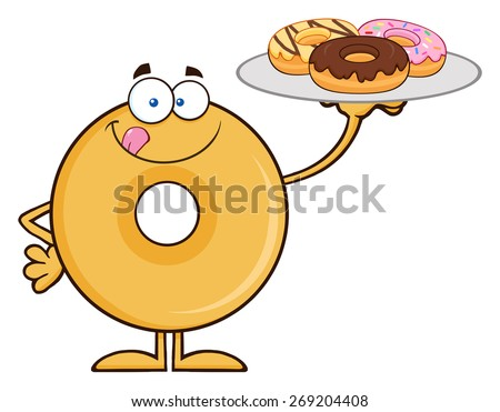 Donut Cartoon Character Serving Donuts. Vector Illustration Isolated On White - stock vector