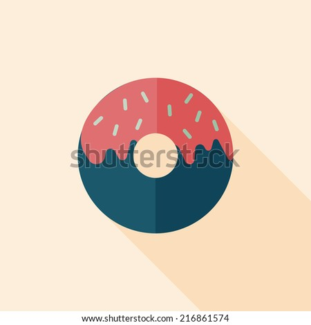 Donut flat icon with long shadow,eps10 - stock vector