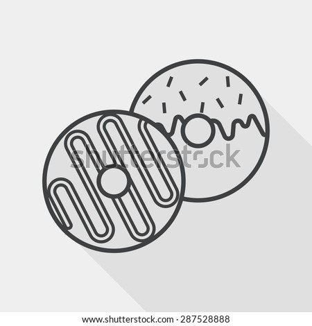 Donut flat icon with long shadow, line icon - stock vector