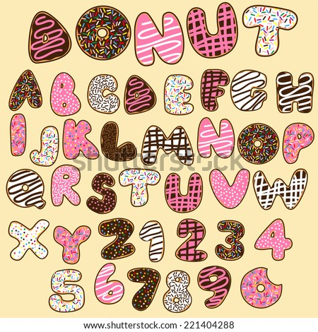 donut font,sweet alphabets - stock vector