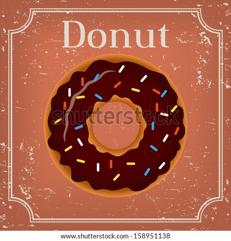 Donut on vintage background - vector illustration  - stock vector