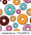 Donut seamles pattern. Vector - stock photo
