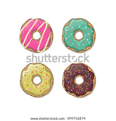 Donut vector illustration.Collection of sweet donuts isolated.