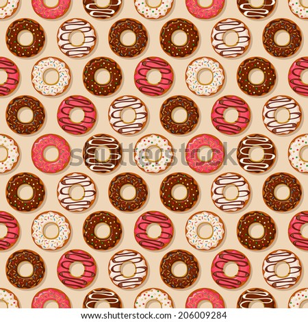 Donuts backgrounds with different sweet icing. Vector seamless pattern. - stock vector