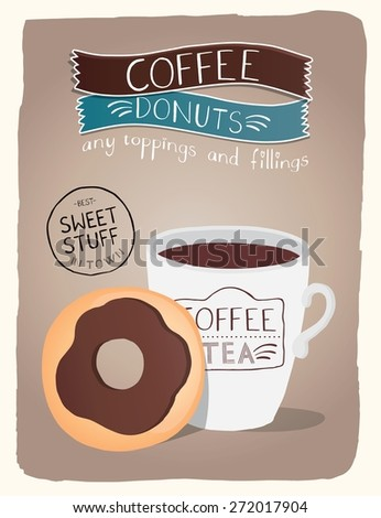 Donuts Coffee Bakery Advertising. - stock vector