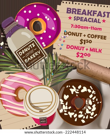 Donuts Coffee Bakery Advertising Banner 2 - stock vector