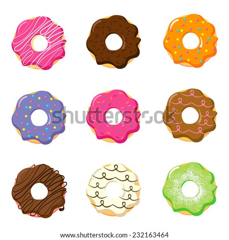Donuts collection isolated on white background. Different tastes and colors: green pistachio, red strawberry, candied fruits, white chocolate, black chocolate, brown hazelnut, whit glaze and sprinkles - stock vector