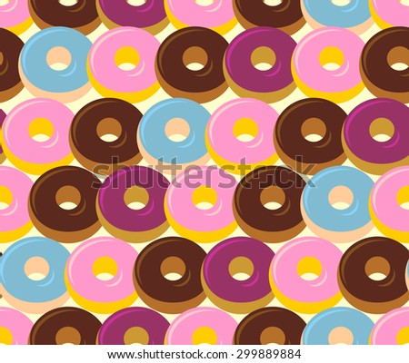 Donuts seamless pattern. Chocolate and strawberry desserts. Sweets vector ornament - stock vector