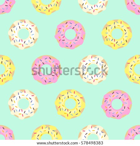Donuts Seamless Pattern On Mint Green Background Cute Sweet Food Colorful Design For