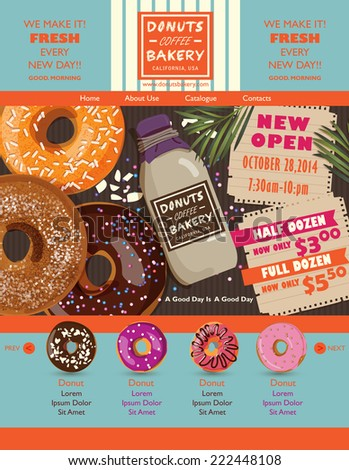 Donuts website design elements - stock vector