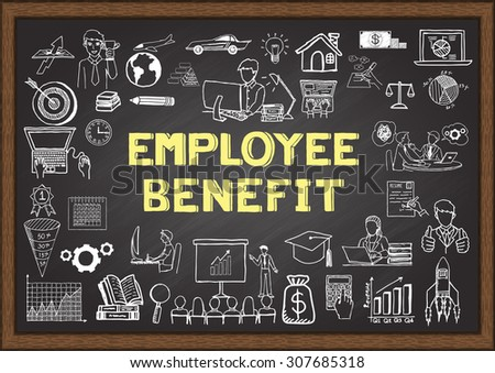Doodle about employee benefit on chalkboard. - stock vector