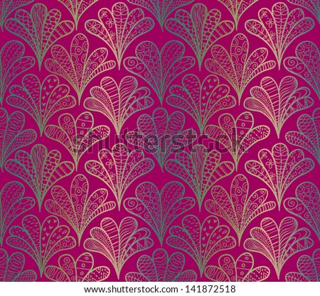 Doodle abstract bushes seamless pattern. - stock vector