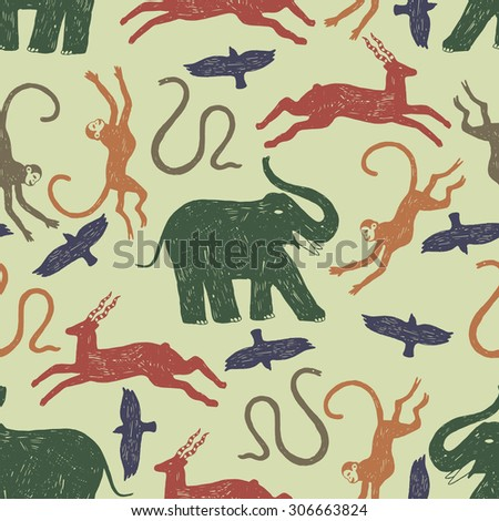 doodle african animals seamless pattern