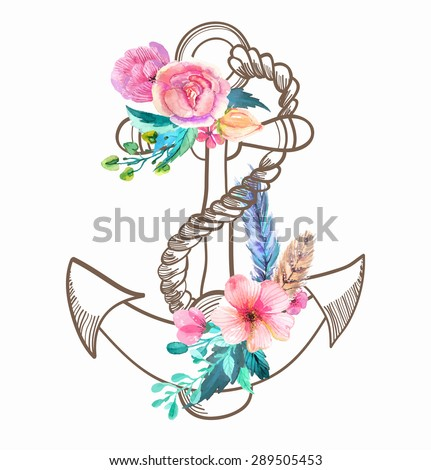 Doodle Anchor with watercolor flowers and feather over white, Vector