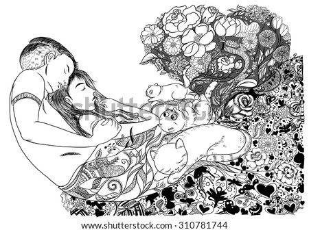 Doodle and line art the Couple sleeping with cats among flowers - stock vector