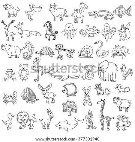 Doodle animals childrens drawing. Animal doodle drawing,  character animal wildlife, animal pelican cow camel and crocodile, fish and elk, fox and zebra, jellyfish and lizard, vector illustration - stock vector