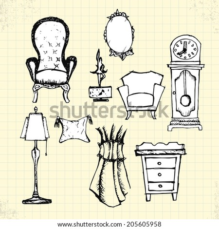 Doodle Antique Furniture on Paper, Vector Drawing