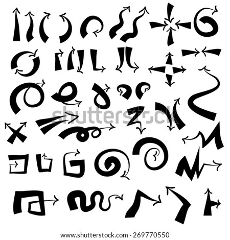 Doodle arrow icons set with spiral, square, circle and triangle directions, shapes . White background. Vector Illustration.