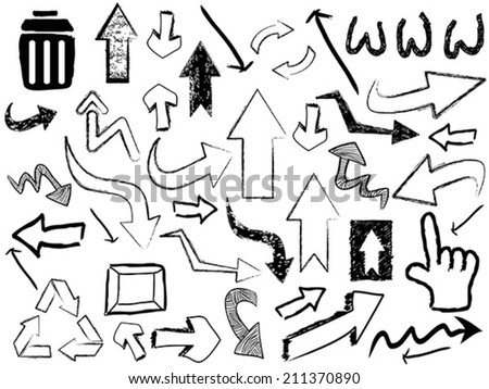 doodle arrow sign background - stock vector