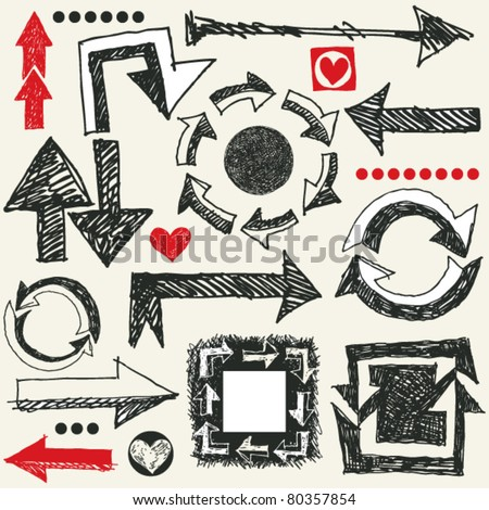 doodle arrows, hand drawn design elements - stock vector