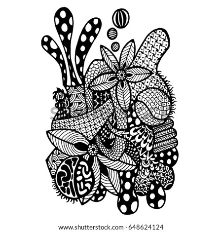 Doodle Art Coloring Page Adultabstract Style Stock Vector ...