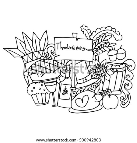 Doodle art of thanksgiving vector illustration collection