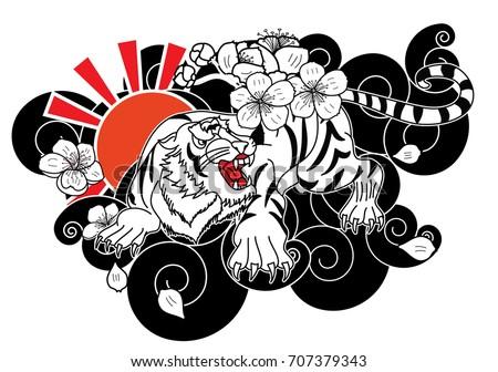 Line Art Flower Design : Doodle art style tiger face cherry stock vector