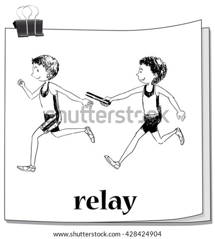 Doodle athletes running relay illustration