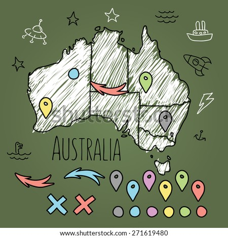 Doodle Australia map on green chalkboard with pins and extras vector illustration - stock vector