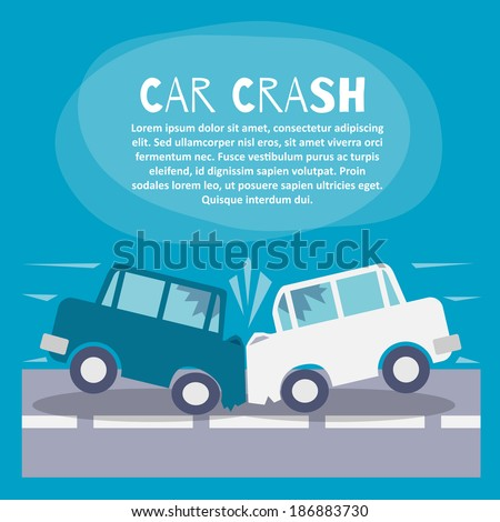 Doodle auto accident poster with two cars crash on a street vector illustration - stock vector