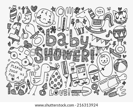doodle baby background - stock vector