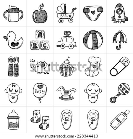 doodle baby icon sets - stock vector