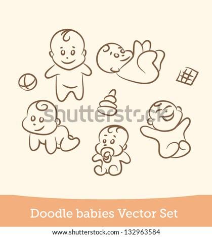 doodle baby set - stock vector