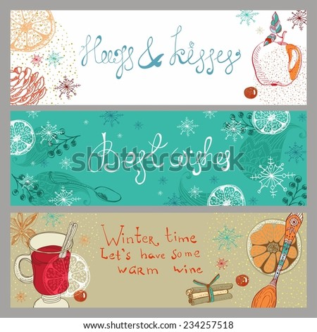 Doodle background with mulled warm wine and fruits, Christmas traditional drink, three banners for Holiday design - stock vector