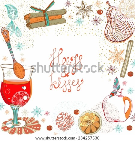 Doodle background with mulled warm wine for design, Christmas traditional drink - stock vector