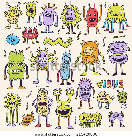 Doodle bacteria germs colorful set. Hand drawn vector illustration. - stock vector