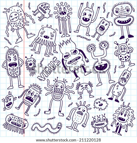 Doodle bacteria germs set. Hand drawn vector illustration. School notebook. - stock vector