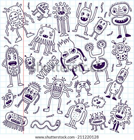 Doodle bacteria germs set. Hand drawn vector illustration. School notebook. - stock vector