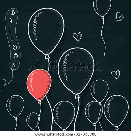 Doodle balloons drawn with chalk on a board. Cartoon spheres. Handwork balloon. Spheres for design. Background with spheres for design - stock vector