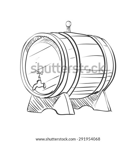 doodle barrel isolated on the white background, excellent vector illustration, EPS 10