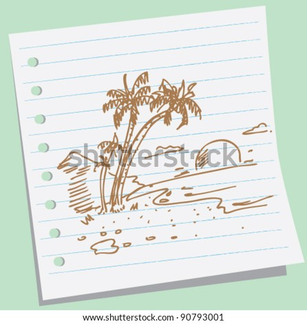 doodle beach illustration - stock vector