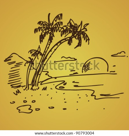 doodle beach illustration sunset - stock vector
