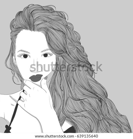 Doodle Beautiful Woman Drawinga Sketch Female Stock Vector HD