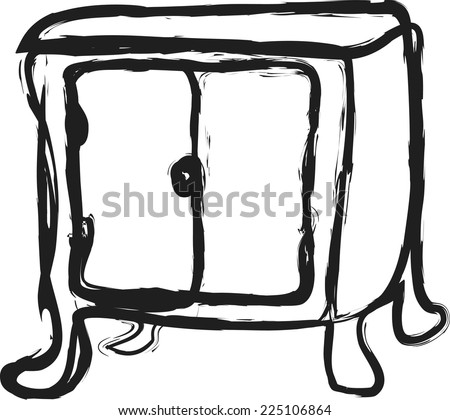 doodle bedside table  - stock vector