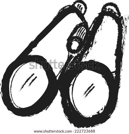 doodle binoculars vector - stock vector