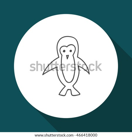 Doodle bird animal icon vector contour isolated on background