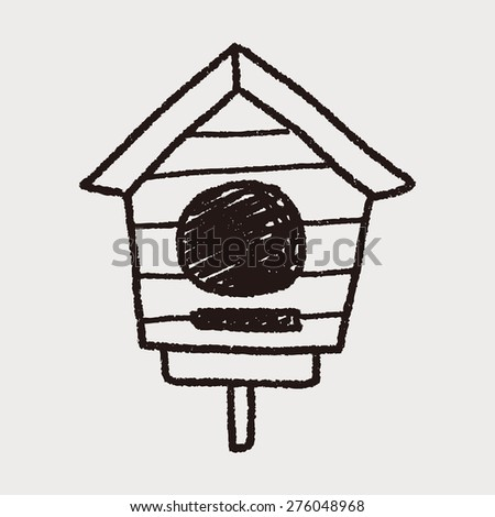 doodle bird house - stock vector