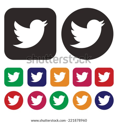 Doodle bird icon . Social network bird icon - stock vector